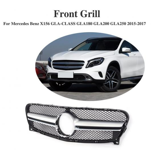 AL 車用外装パーツ ABS フロント バンパー グリッド カバー トリム 適用: メルセデスベンツ X156 GLAクラス GLA180 GLA200 GLA250 2015-2017 A ブラック~B シルバー AL-DD-8315