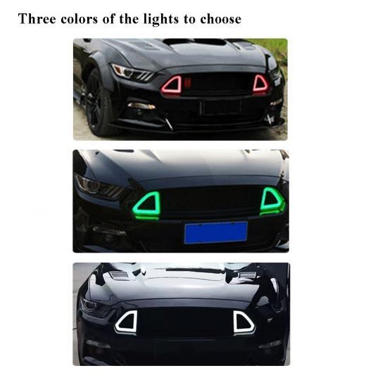 AL 車用外装パーツ ABS グリッド 適用: フォード マスタング フロント マッシュ グリル ライト 2015-2017 グリーン ライト AL-DD-8447