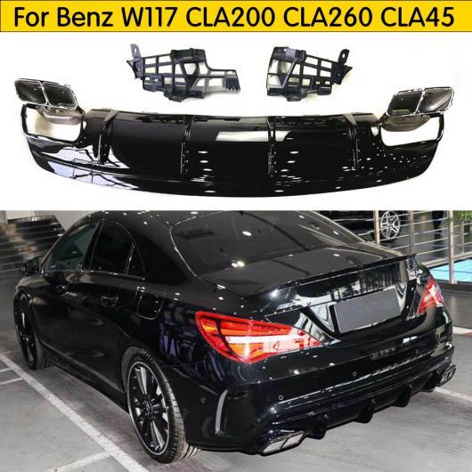 AL 適用:W117 カーボンファイバー リア バンパー ディフューザー エキゾースト チップ 適用:ベンツ W117 CLA200 CLA260 CLA45 フェイスリフト AMG パッケージ 16-19 グロス ブラック 1・2 AL-DD-8710