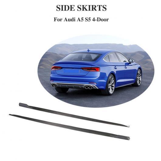 AL 車用外装パーツ カーボンファイバー サイド スカート エクステンション リップ エプロン サイド ボディ キット 適用: アウディ A5 Sライン S5 4 ドア 2018 2019 AL-DD-8740