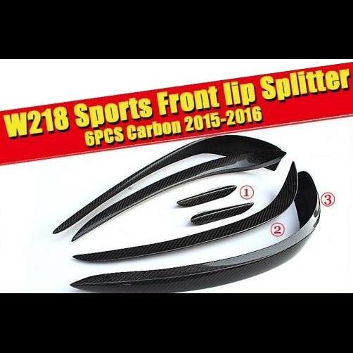 AL 車用外装パーツ CLS W218 フロント リップ スプリッター 6個 ブラック カーボン 適用: ベンツ CLSクラス CLS350 CLS400 バンパー スプリッタ ウイング スポイラー 2015-16 タイプ001 AL-EE-0170