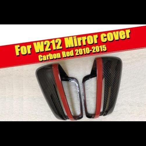 AL 車用外装パーツ 2個 カーボンファイバー レッド リア ミラー 適用: メルセデスベンツ W212 Eクラス E200 E250 リア ビュー ミラー カバー 2010-15 タイプ001 AL-EE-0203