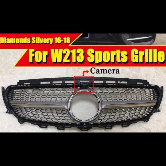 AL 車用外装パーツ ダイヤモンド グリッド グリル ABS シルバー カメラホール 適用: メルセデスベンツ W213 E180 E200 E250 フロント バンパー 16-18 タイプ001 AL-EE-0260