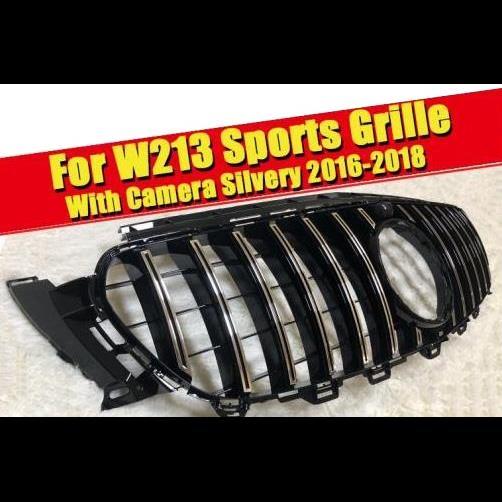 AL 車用外装パーツ GTS グリル W213 シルバー カメラホール 適用: メルセデスベンツ E180 E250 E300 Eクラス フロント バンパー グリル 16-18 タイプ001 AL-EE-0261