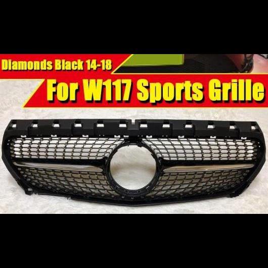 AL 車用外装パーツ W117 ダイヤモンド グリッド グリル 光沢ブラック ABS ブラック 適用: メルセデスベンツ CLAクラス フロント バンパー 2014-2018 タイプ001 AL-EE-0265
