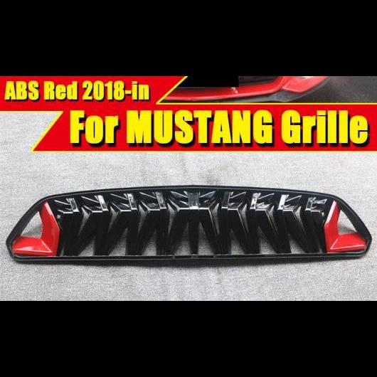AL 車用外装パーツ 適用: フォード マスタング グリル ABS レッド & ブラック マスタング フロント バンパー レーシング グリル フロント メッシュ 18- タイプ001 AL-EE-0266