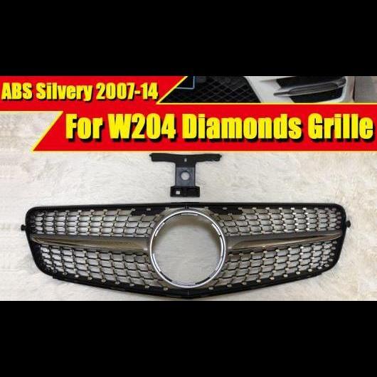 AL 車用外装パーツ W204 ダイヤモンド グリッド グリル スポーツ A45AMG ABS シルバー Cクラス C180 C200 C250 フロント バンパー グリル 2007-2014 タイプ001 AL-EE-0271