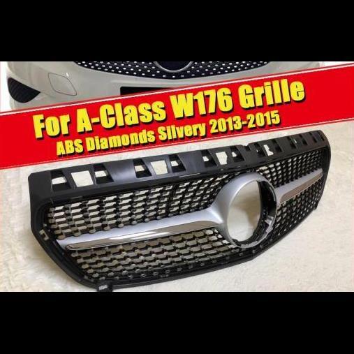 AL 車用外装パーツ W176 ダイヤモンド グリッド グリル ABS シルバー Aクラス A180 A200 A220 A250 A45 スポーツ フロント バンパー グリル 13-15 タイプ001 AL-EE-0276