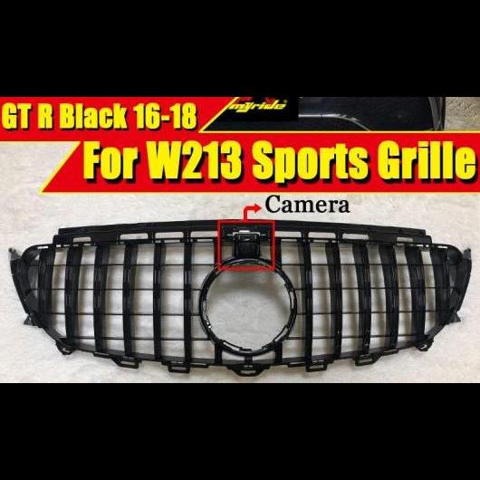 AL 車用外装パーツ W213 GTS グリッド グリル ABS ブラック カメラホール 適用: メルセデスベンツ Eクラス E180 E200 E250 E300 E350 スポーツ フロント 16- タイプ001 AL-EE-0278