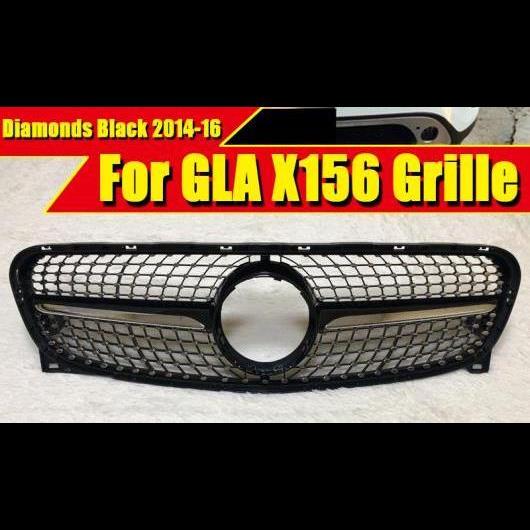 AL 車用外装パーツ X156 ダイヤモンド グリッド グリル ABS 光沢ブラック 適用: メルセデス GLAクラス スポーツ GLA180 200 250 GLA45 フロント 14-16 タイプ001 AL-EE-0298
