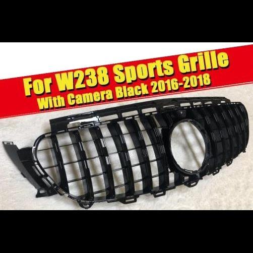 AL 車用外装パーツ W238 ABS ブラック フロント バンパー GT R スタイル グリル カメラホール Eクラス E200 E250 E300 E320 E350 E63 2016-2018 タイプ001 AL-EE-0335