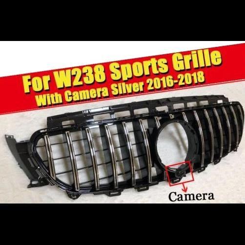 AL 車用外装パーツ W238 GT R スタイル フロント グリッド カメラホール Eクラス E200 E250 E300 E350 E400 E500 ABS シルバー バンパー 16-18 タイプ001 AL-EE-0339