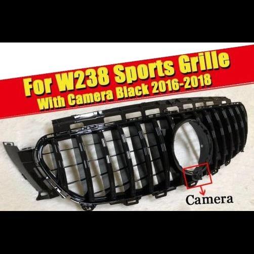 AL 車用外装パーツ W238 フロント バンパー グリッド GT R スタイル ABS 光沢ブラック カメラホール Eクラス E200 E250 E300 E350 E400 E500 16-18 タイプ001 AL-EE-0341