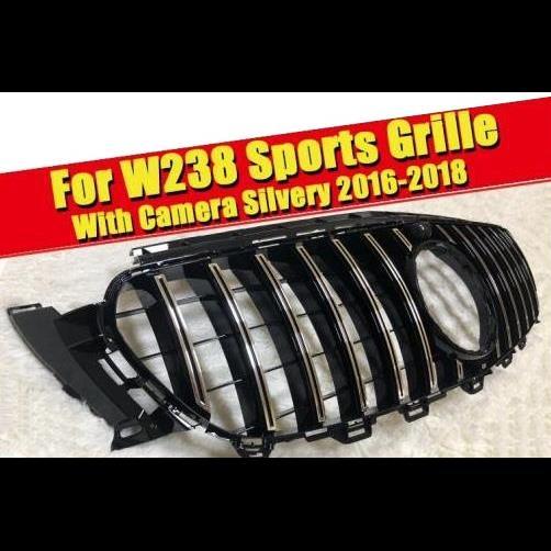 AL 車用外装パーツ W238 GTS スタイル フロント グリッド カメラホール Eクラス E200 E250 E300 E350 E400 E500 ABS シルバー バンパー 16-18 タイプ001 AL-EE-0342