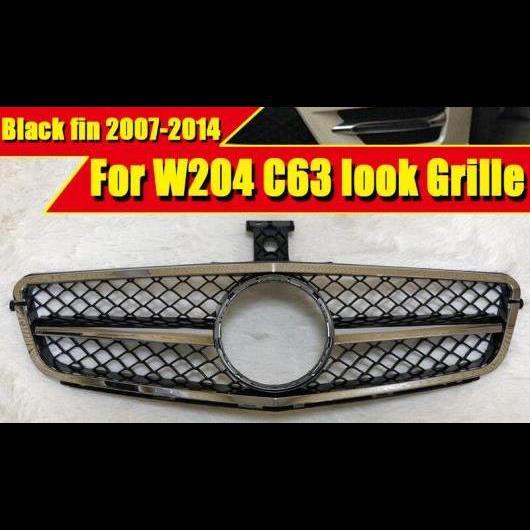 AL 車用外装パーツ 適用: メルセデス Cクラス C204 W204 S204 スポーツ フロント グリッド グリル C63 スタイル メッキ ブラック 2007-14 タイプ001 AL-EE-0378