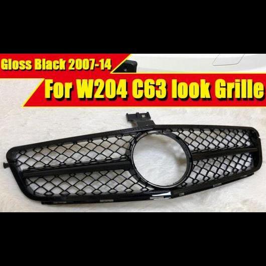AL 車用外装パーツ 適用: メルセデス C W204 C204 サルーン クーペ スポーツ C63 スタイル フロント グリッド グリル ABS 光沢ブラック 2007-14 タイプ001 AL-EE-0384