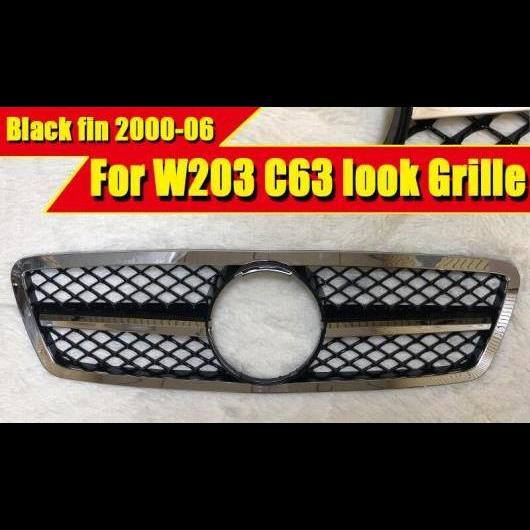 AL 車用外装パーツ 適用: メルセデス C203 W203 Cクラス スポーツ フロント C63 グリッド グリル メッキ ブラック アドオン スタイル 2000-2006 タイプ001 AL-EE-0390