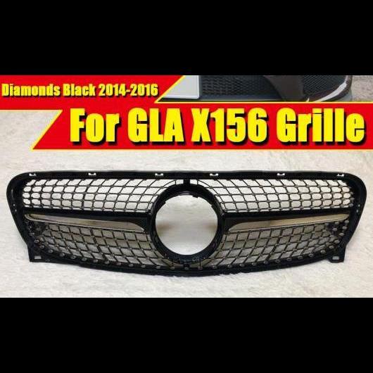 AL 車用外装パーツ 適用: メルセデス X156 GLAクラス スポーツ ダイヤモンド フロント グリッド グリル ブラック アドオン スタイル GLA45 モデルチェンジ前 モデル 14/2016 タイプ001 AL-EE-0395