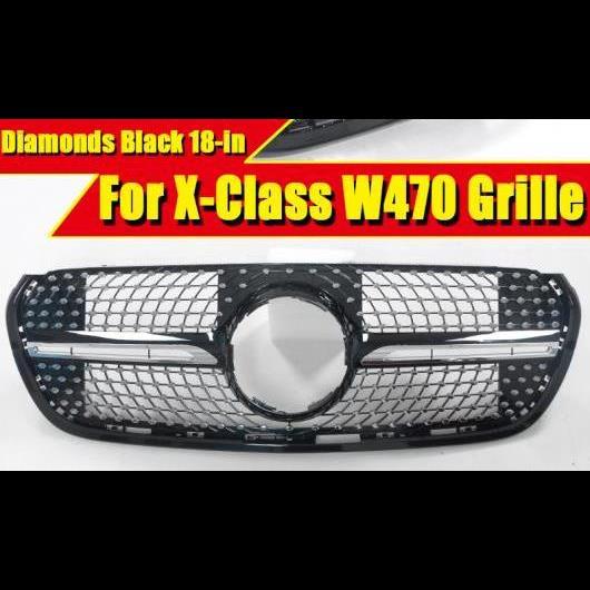 AL 車用外装パーツ ダイヤモンド スタイル Xクラス W470 フロント グリル メッシュ 適用: メルセデスベンツ ABS ブラック カメラなし グリル 2018 タイプ001 AL-EE-0403