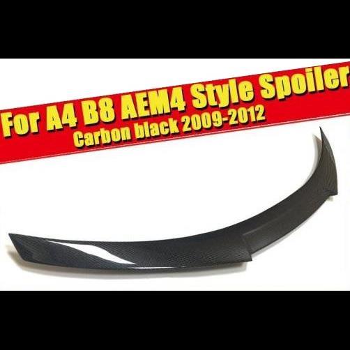 AL 車用外装パーツ 適用: アウディ A4 B8 スポイラー ウイング A4A A4Q M4スタイル リアル カーボンファイバー リア トランク ブラック ハイ テール リップ 2009-12 タイプ001 AL-EE-0778