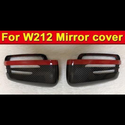 AL 車用外装パーツ Eクラス W212 ウイング ドア ミラー カバー カーボンファイバー レッド ストリップ 2個 適用: メルセデスベンツ E63AMG 2010-15 タイプ001 AL-EE-0981