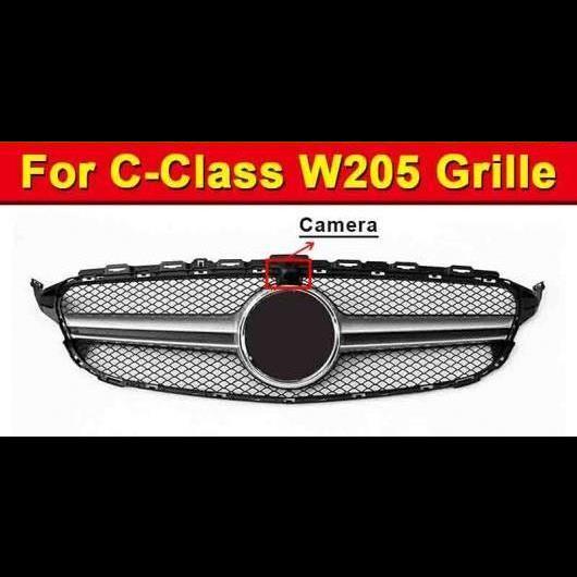 AL 車用外装パーツ W205 グリル ABS シルバー カメラホール 適用: メルセデスベンツ Cクラス W205 スポーツ C180 C200 C250 フロント メッシュ 2015-18 タイプ001 AL-EE-1022