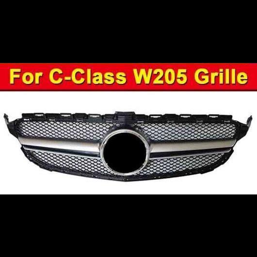 AL 車用外装パーツ W205 フロント グリル ABS シルバー 適用: メルセデスベンツ Cクラス W205 スポーツ C180 C200 C250 フロント バンパー メッシュ 15-18 タイプ001 AL-EE-1027