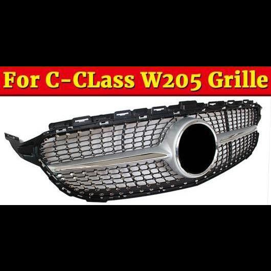 AL 車用外装パーツ W205 ダイヤモンド スタイル グリル ABS シルバー Cクラス スポーティー C180 C200 C250 C300 C350 フロント バンパー グリル 2015-18 タイプ001 AL-EE-1053