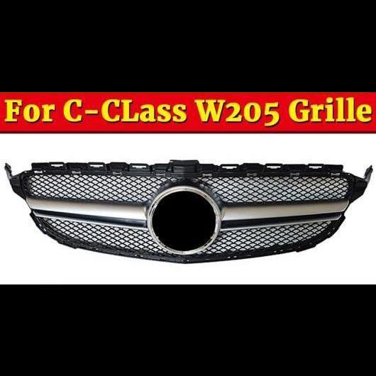 AL 車用外装パーツ W205 フロント グリル スポーツ ABS シルバー 適用: メルセデスベンツ Cクラス C200 C250 C300 C350 C63 スタイル グリル 2015-2018 タイプ001 AL-EE-1054