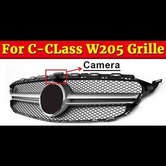 AL 車用外装パーツ W205 グリッド ABS シルバー スタイル グリル 適用: メルセデスベンツ スポーツ Cクラス C180 C200 C250 C300 C350 フロント カメラホール 15-18 タイプ001 AL-EE-1057