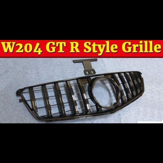 AL 車用外装パーツ W204 Cクラス スポーツ グリッド グリル GT R スタイル ABS ブラック C180 C200 250 C63 フロント ボーダー 07-14 除外: C63AMG タイプ001 AL-EE-1058