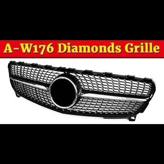 AL 車用外装パーツ W176 ダイヤモンド グリッド ABS 光沢ブラック 適用: メルセデスベンツ Aクラス A180 A200 A250 グリル 16-18 タイプ001 AL-EE-1064