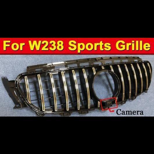 AL 車用外装パーツ 適用: メルセデスベンツ W238 クーペ フロント グリッド グリル GT R スタイル W/カメラ ABS 光沢ブラック E200 E250 E300 E350 400 500 E63 16- タイプ001 AL-EE-1077