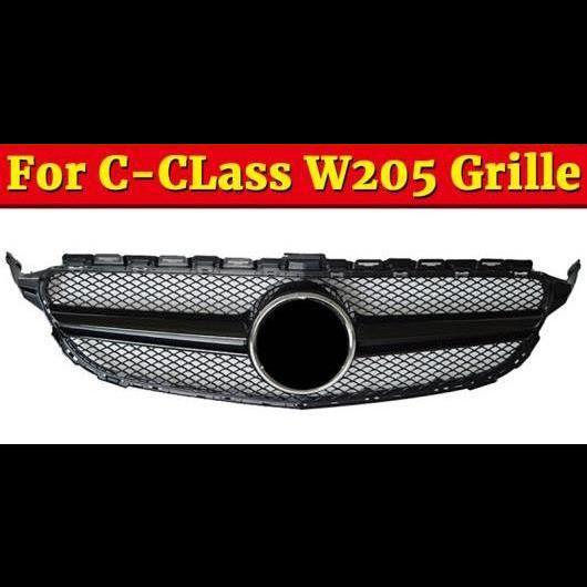 AL 車用外装パーツ 適用: メルセデスベンツ W205 グリッド グリル 2 フィン ABS 光沢ブラック Cクラス C180 C200 C250 C63 フロント グリル 2015-2018 タイプ001 AL-EE-1080