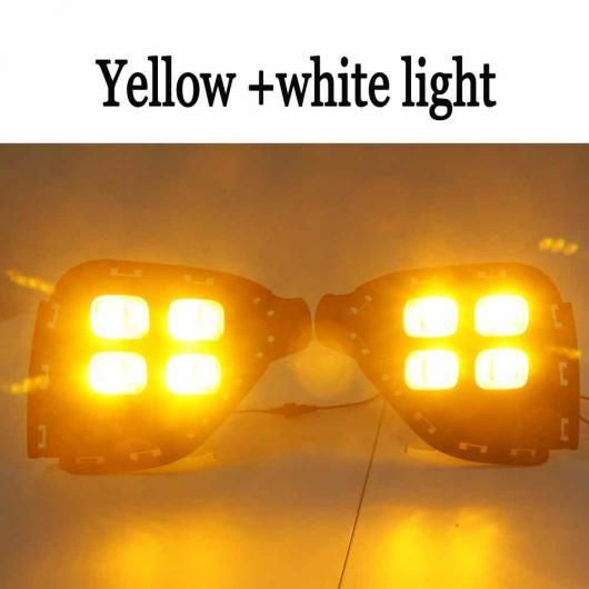 AL 2個 イエロー ターニング シグナル ライト DRL 防水 12V LED デイタイム ランニング ライト フォグランプ バルブ 適用: ヒュンダイ クレタ IX25 イエロー & ホワイト AL-EE-3795