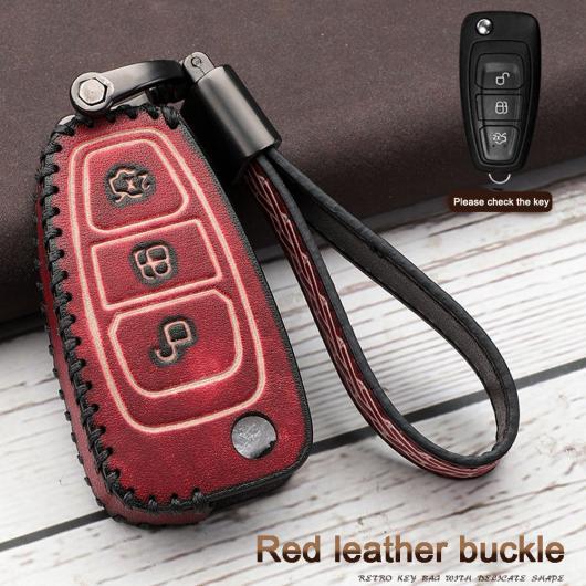 AL 3ボタン レザー 折りたたみ キー フォブ シェル カバー ケース 適用: フォード MK3 ギャラクシー モンデオ トランジット フィエスタ/クーガ タイプ001・タイプ002 AL-EE-3076