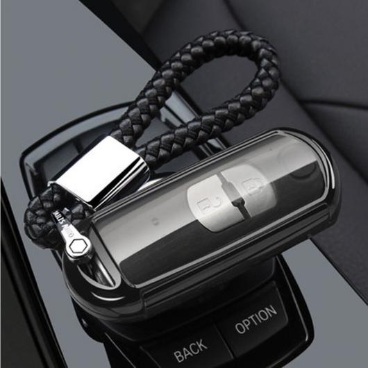 AL TPU キーケース ウォレット 適用: マツダ 2 3 5 6 8 アクセラ アテンザ CX3 CX4 CX5 CX7 CX9 RX MX-5 ミアータ スマート キー ホルダー タイプ002~ブラック AL-EE-3183