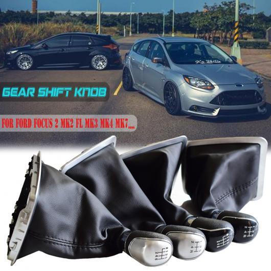 AL PU レザー 防塵 カバー ブラック/シルバー ギア シフト ノブ 5/6速 適用: フォード フォーカス 2 MK2 FL C-MAX 2006-2011 MK3 MK4 MK7 ビッグ・5速・ブラック~ビッグ・6速・シルバー AL-EE-3512