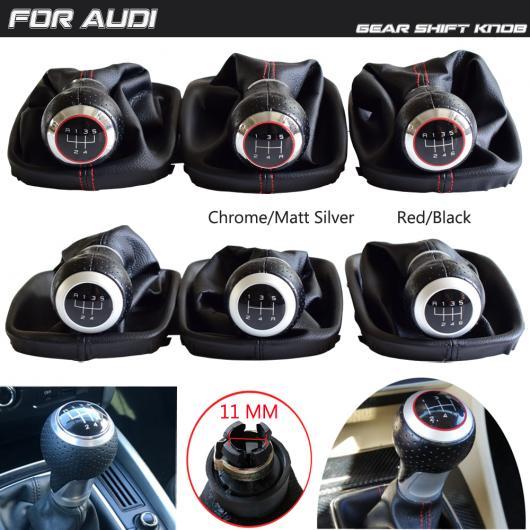 AL 適用: アウディ A6 C5 1997-2001/A4 1998-2000/A8 D2 1996-2003 5/6速 ギア シフト スティック ノブ レザー ブーツ カバー クローム・ブラック・5・R~マットシルバー・レッド・R・5 AL-EE-3980