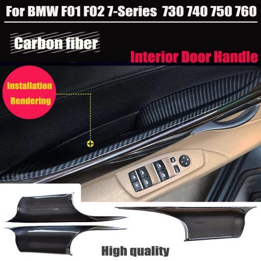 AL 適用: BMW F01 F02 7シリーズ カーボンファイバー ABS ドア ハンドル セダン パネル プル トリム カバー マット ブラック/ブライト ブラック 1ペア・フロント・マット・1ペア・リア・マット・F02 AL-EE-4180