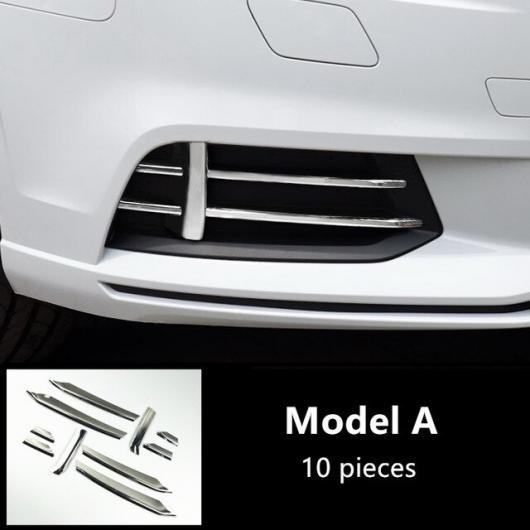AL ステンレス スチール フロント フォグランプ グリッド 装飾 カバー トリム グリル グリッド デカール ストリップ 適用: アウディ A3 2017 2018 モールディング 10ピース AL-EE-4521