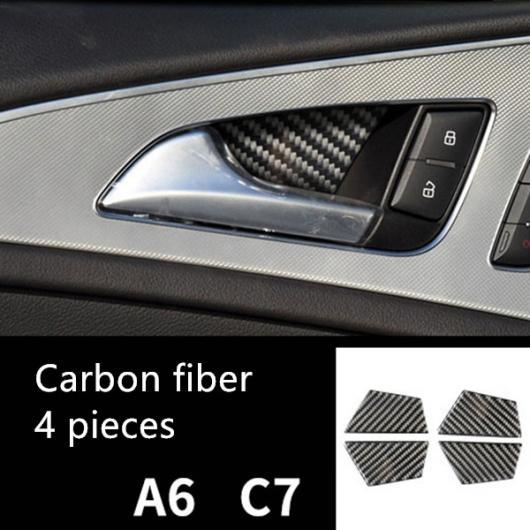 AL カーボンファイバー調 ハンドル ステアリング ホイール 装飾 カバー トリム ステッカー 適用: アウディ A6 C7 2012-2018 ドア ハンドル ストリップ ドアボウル AL-EE-4725