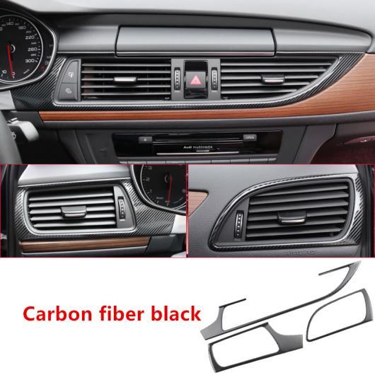 AL コンソール ギア シフト パネル フレーム カバー トリム ストリップ 適用: アウディ A6 C7 2012-2018 カーボンファイバー ステッカー ミドル エアベント AL-EE-4887