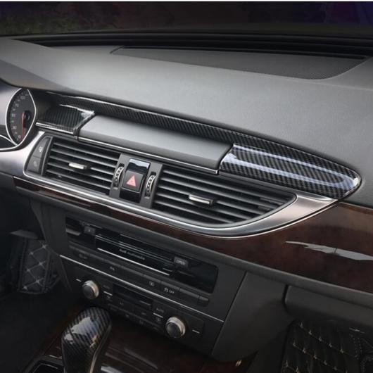 AL コンソール ナビゲーション パネル エア カバー トリム ステッカー ギア ストリップ 適用: アウディ A6 C7 A7 2012-2018 RHD カーボン 色・RHD シルバー AL-EE-4564