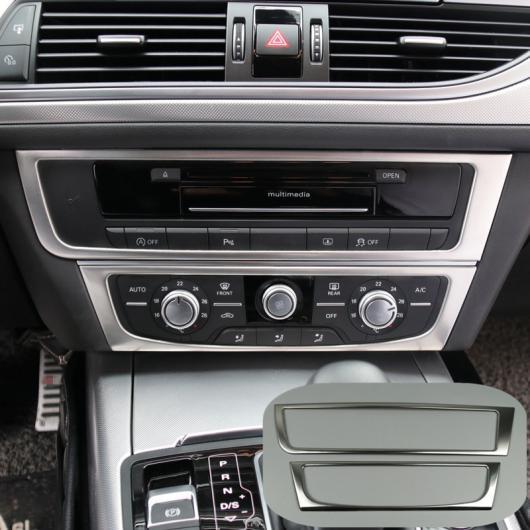 AL コンソール エア コンディション CD パネル 装飾 カバー トリム 2個 適用: アウディ A6 C7 A7 2012-2018 ステンレス スチール AL-EE-4643