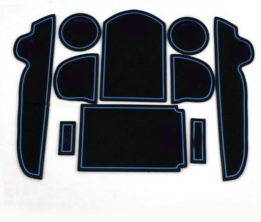 AL ブルー ライン シリカゲル ドア ゲート スロット マット ティーカップ パッド 滑り止め パッド 適用: トヨタ RAV4 2006-2012 10ピース AL-EE-6170