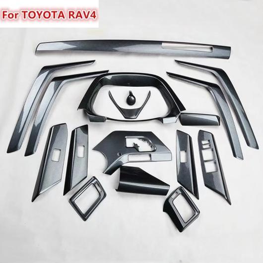 AL 17ピース 適用: トヨタ RAV4 2014 ABS カーボンファイバー ペイント フロント ダッシュ ボード エア 吹き出し口 パネル インナー ドア インテリア AL-EE-6174