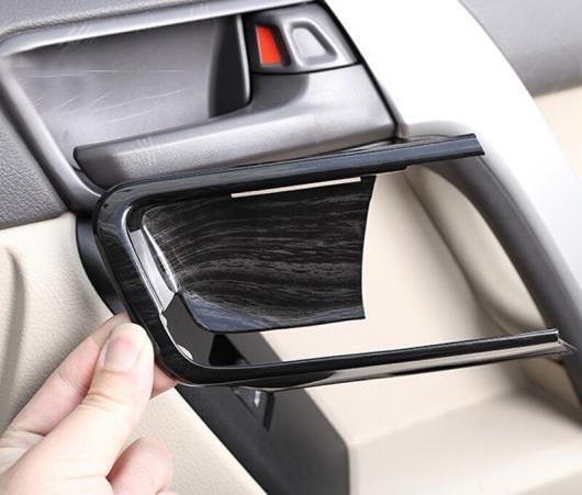 AL 4ピース ブラック 木目調 ABS インテリア ドア ボウル カバー トリム 適用: トヨタ ランドクルーザー プラド FJ150 150 2014-2018 AL-EE-6336