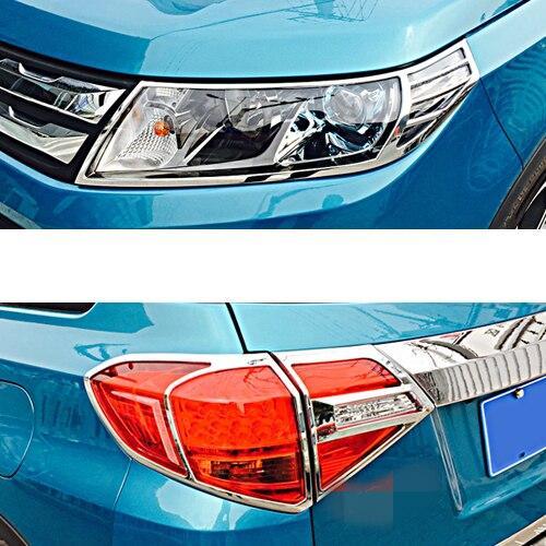 AL 適用: スズキ ビターラ 2016-2018 ABS メッキ フロント + リア テールライト ラージ シェード ボックス トリム 装飾 フロント リアセット AL-EE-6839