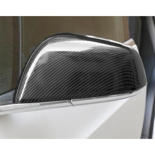 AL 適用: テスラ モデル X 2014-2018 カーボンファイバー リアビュー ミラー カバー シェル バックミラー エッジ ガード ブラック AL-EE-6869